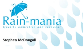 Business card layout for local Glasgow business 'Rain-mania' who specialised in designer rainwear