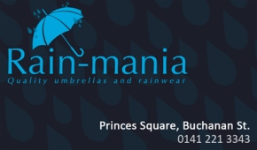Alternate business card layout for local Glasgow business 'Rain-mania' who specialised in designer rainwear
