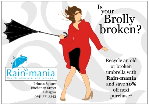 Promotional flyer for local Glasgow business 'Rain-Mania'